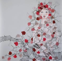 Hope by Fiona Morley, Feminine sculptural wall art with figures and flowers