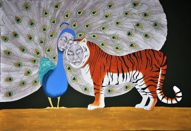 Love Is, abstract wire and oil on canvas painting, with peacock and tiger