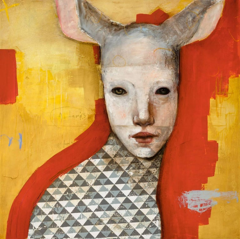 Artemis, Oil on canvas, abstract figurative painting, yellow and orange - Painting by Michele Mikesell