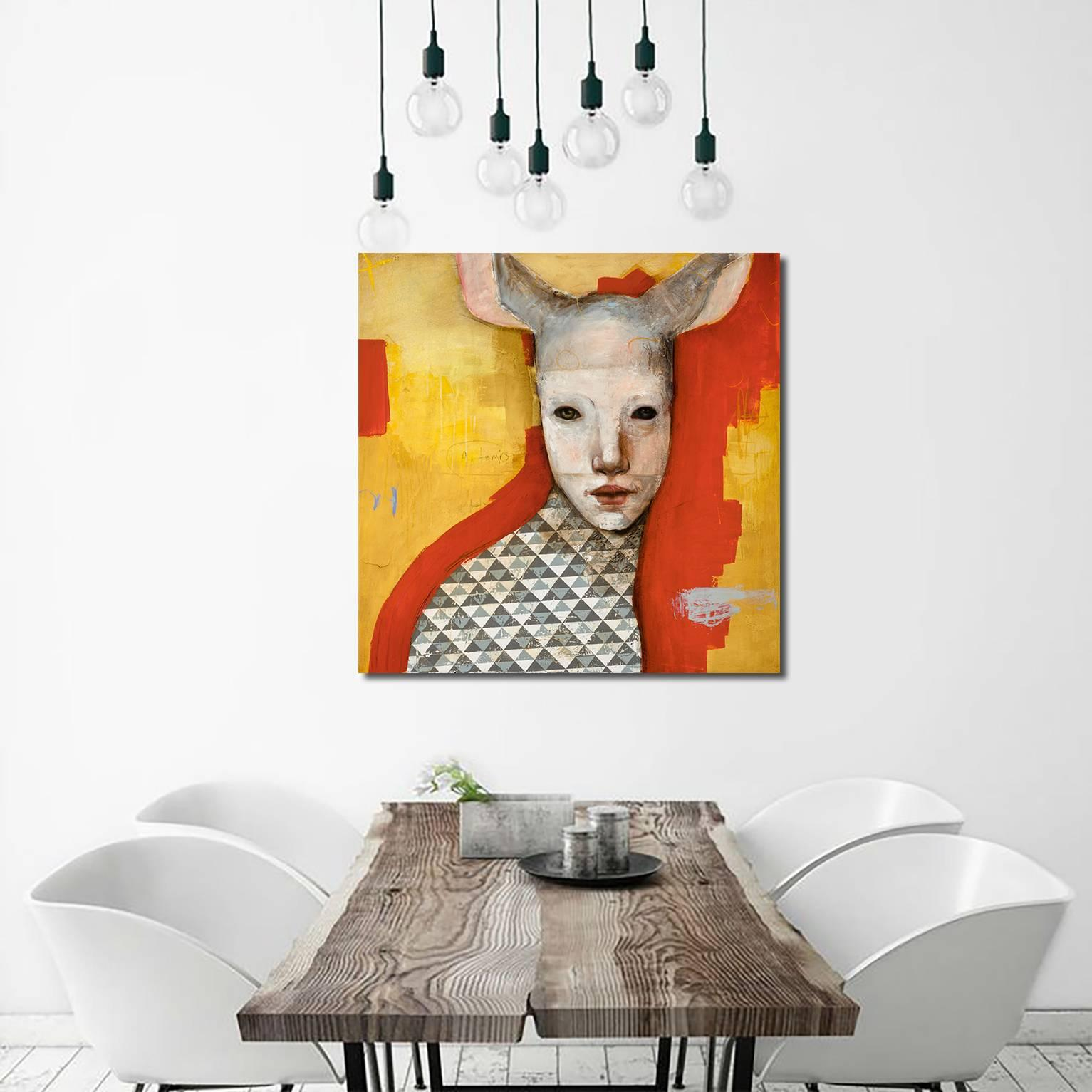 Artemis, Oil on canvas, abstract figurative painting, yellow and orange