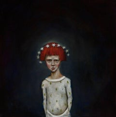 Age Seven, oil on canvas, pop surrealist painting with red haired child