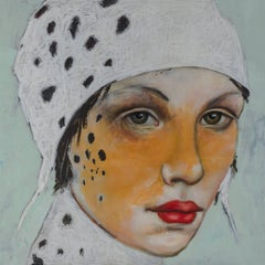 Agave, Oil on canvas, abstract figurative painting with beautiful cheetah woman