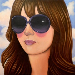 12 by Jeff Chester, realistic oil painting of woman's face wearing sunglasses