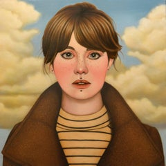Fifteen by Jeff Chester, realistic oil painting of woman's face and clouds