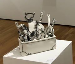 """""""Toolbox"""", porcelain and black stain sculpture"""