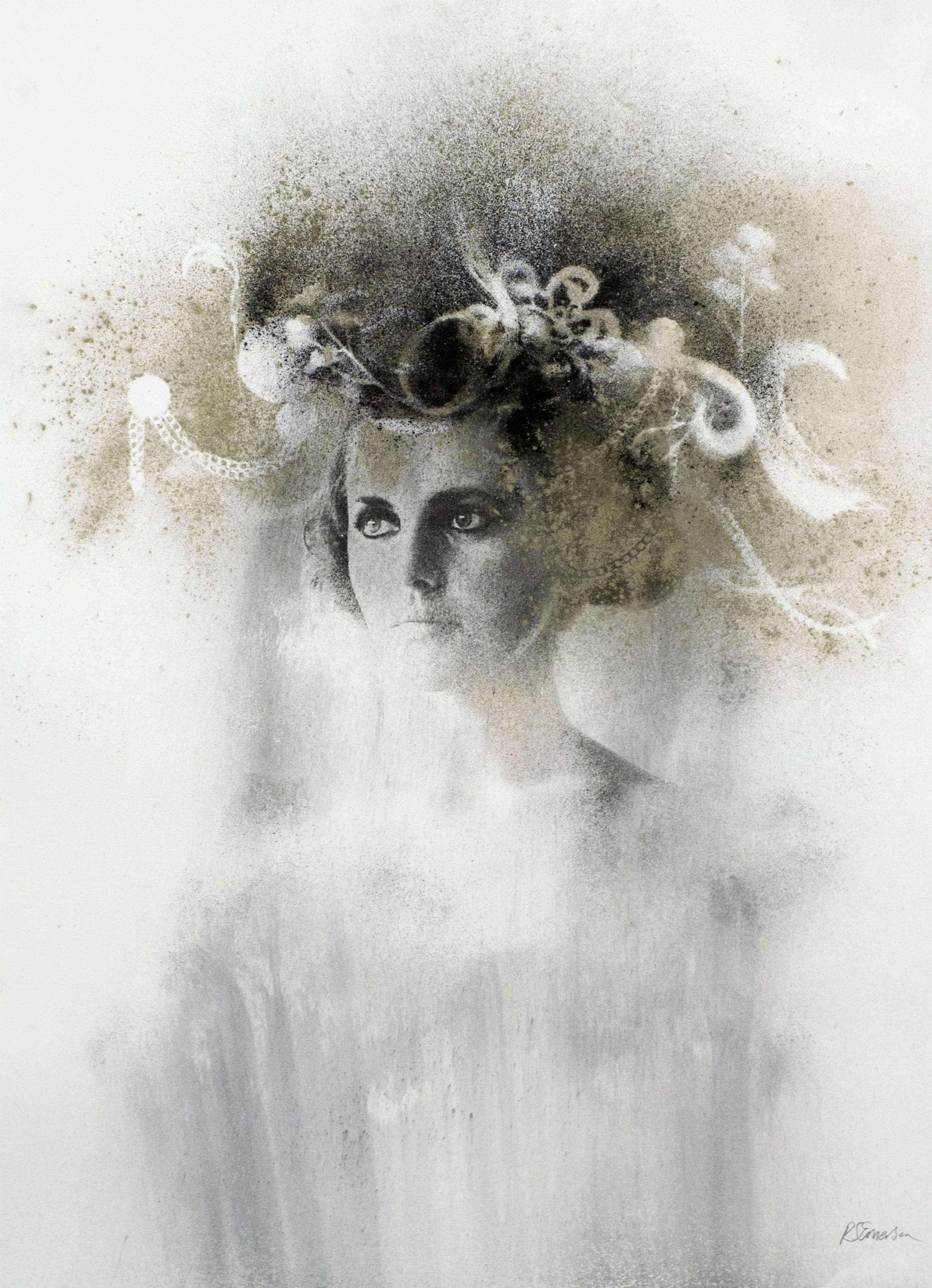 Ophelia # 5, hand painted, mixed media portrait photography on paper, framed