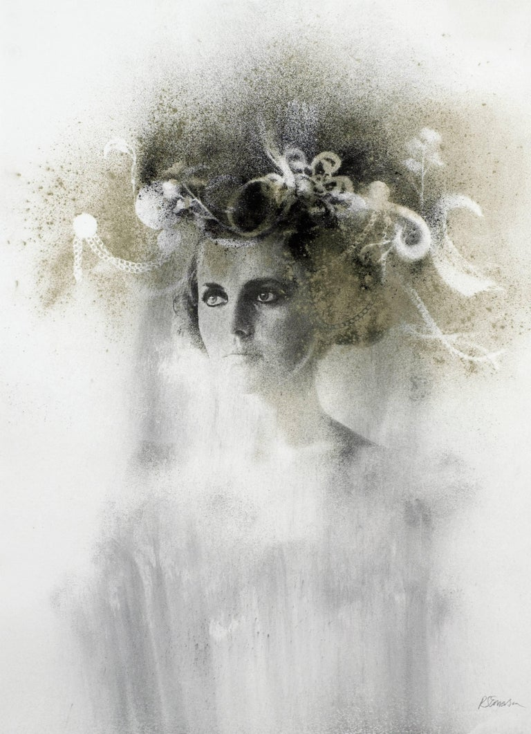 Ophelia # 5, hand painted, mixed media portrait photography on paper, framed - Mixed Media Art by Rosie Emerson