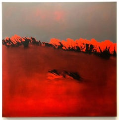 Serie del Crepusculo II, orange abstract, oil on canvas, colorfield painting