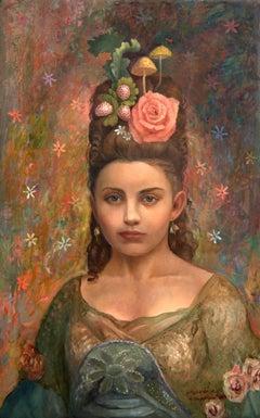 Voila - portrait, emotional and elegant painting, oil on panel - framed