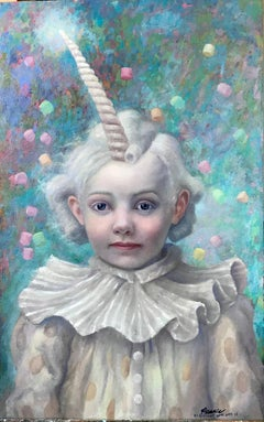 Unicornelia - portrait, emotional and elegant painting, oil on panel - framed