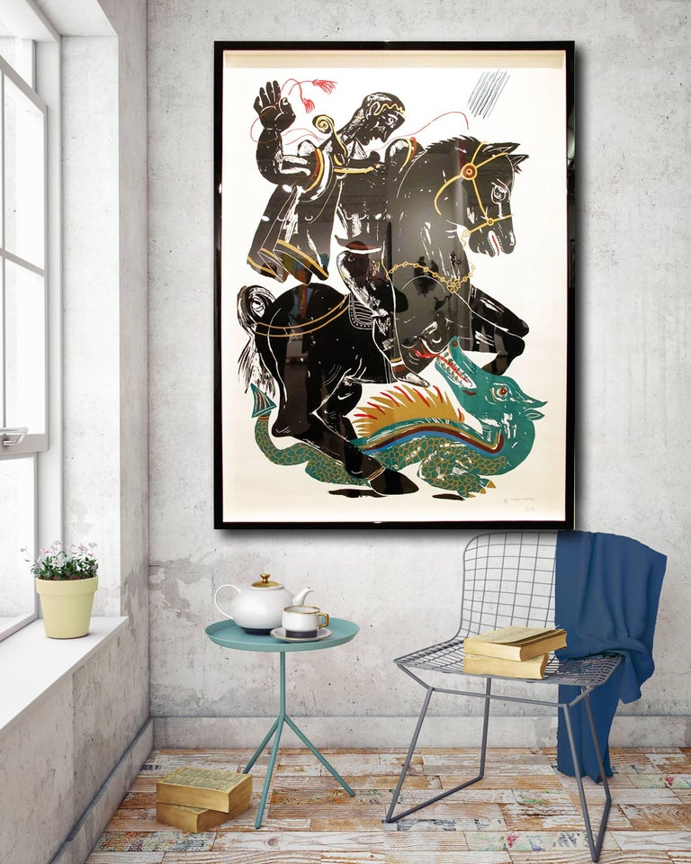 Hero, Black and Green figure on horse fighting dragon, hand-finished silkscreen