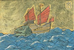 Study for a Boatfish with Red Sails - Ink, egg-tempera and gold leaf on panel
