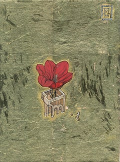 Tulip - Ink, egg-tempera and gold leaf on panel