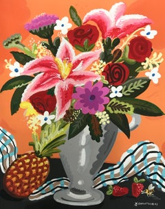 Sweet Anana - Pop art style and classical colorful still-life flower painting