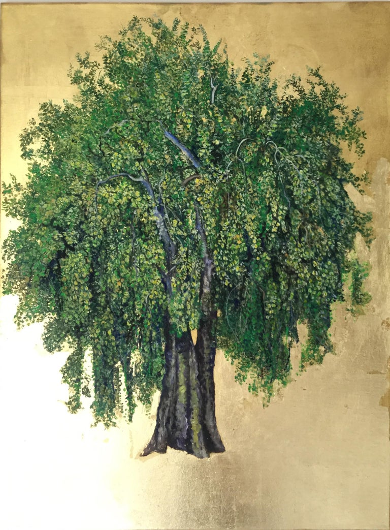 Extending The Summer, a romantic tree painting with gold leaf on canvas