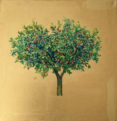 My Heart Belongs to You - a romantic tree painting with gold leaf on canvas