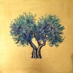 Mystery of the Olive - a romantic olive tree painting with gold leaf on canvas