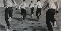 The Chase, Dynamic figures, Charcoal and graphite on Fabriano paper, white frame
