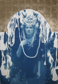 Sola, hand-finished cyanotype with gold leaf, Art Deco style galmorous portrait