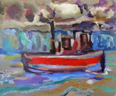 The Red Boat - figurative oil on linen, rich bold colors