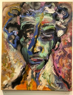 The Head of the House - figurative oil on linen, rich bold colors