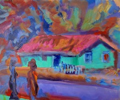 The Green House - figurative oil on linen, rich bold colors
