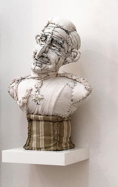 Prince Charles Fabric Sculpture, whimsical and comical, by Anne Valérie Dupond