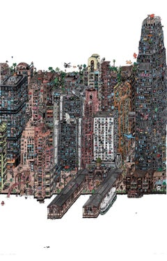 Elephants in Hong Kong, fantastical illustrated cityscape by Guillaume Cornet