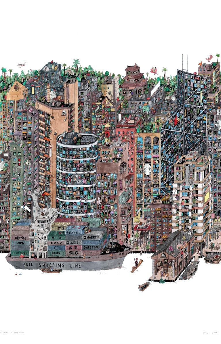 Containers Hong Kong, fantastical illustrated cityscape by Guillaume Cornet