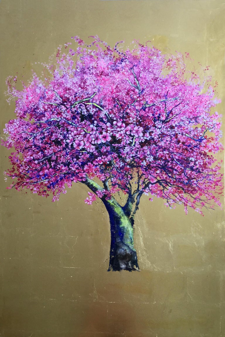 And Then He Kissed Me, Elegant oil on canvas with gold leaf, pink tree & flower