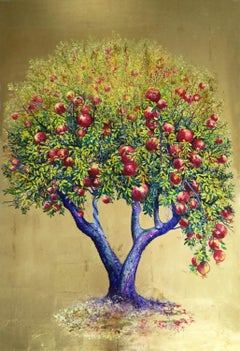 Euphoria, Elegant Oil on Canvas Painting with Gold Leaf, Pomegranate Tree