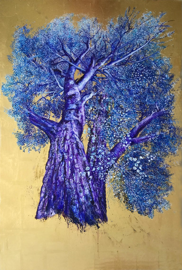 Mezmerizing, Oil on Canvas with Gold Leaf Painting, Powerful Violet & Blue Tree
