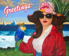 Greetings by Jeff Chester, Oil on Canvas, Pop Realism with Woman and Parrot
