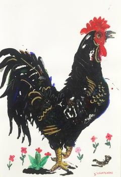 Rooster Over Flowers II, by Apostolos Chantzaras, unframed painting on paper