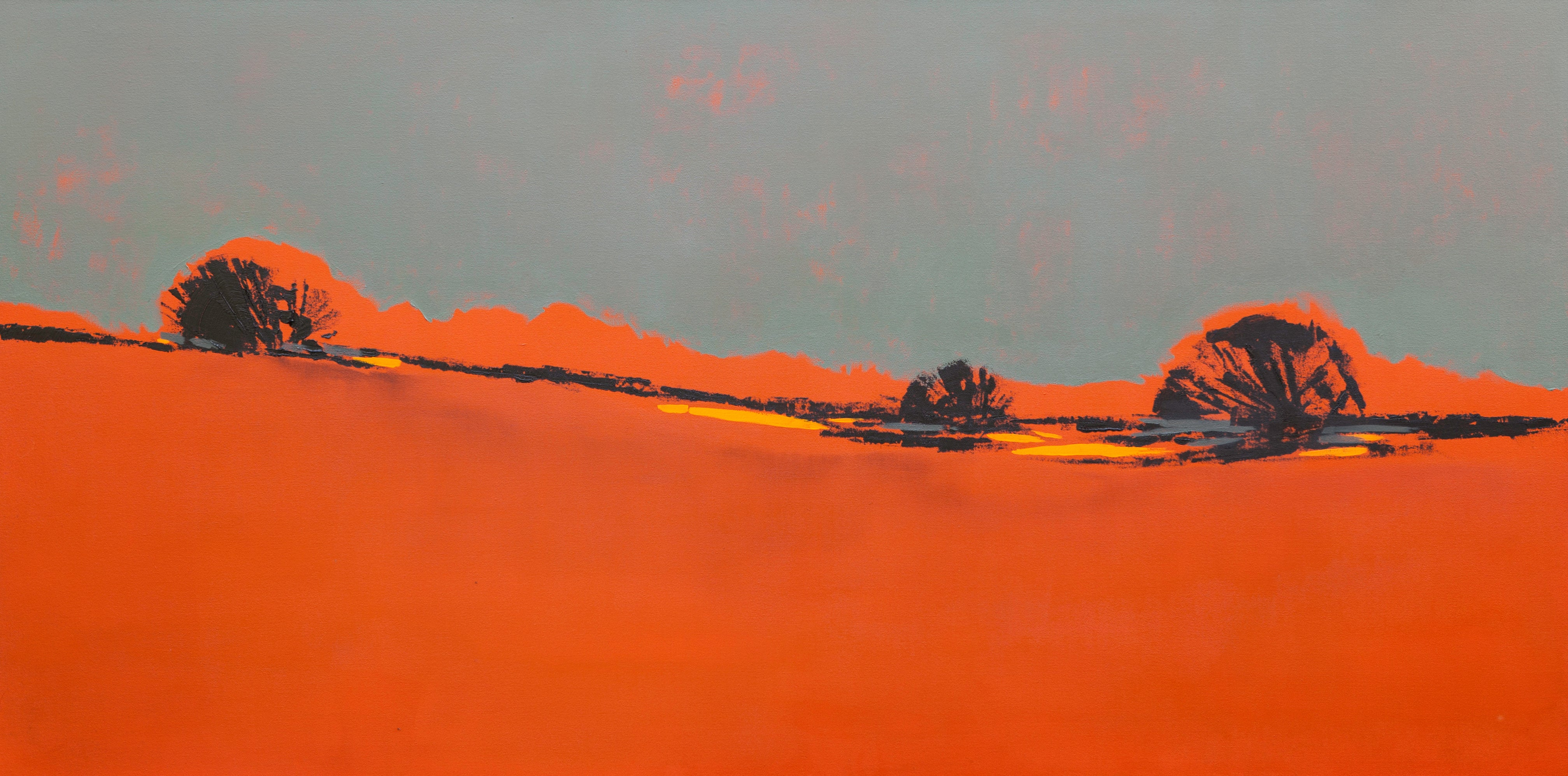 Orange Composition-Large abstract Patagonia landscape, oil contemporary painting
