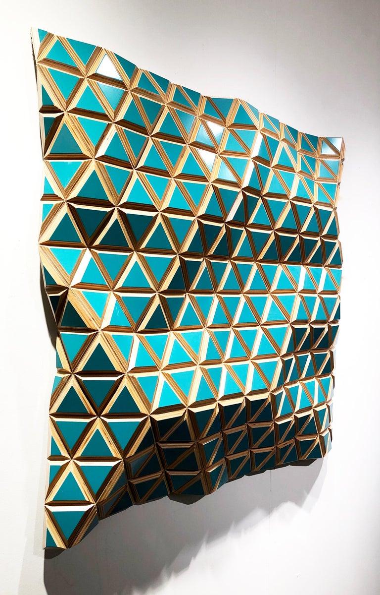Tropicalisimo -Flexible Rigids- painted wood sculptural wall, parametric design  - New Media Sculpture by Hugo Garcia-Urrutia