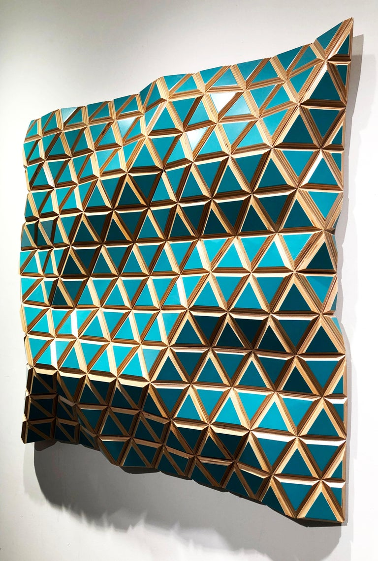 Tropicalisimo -Flexible Rigids- painted wood sculptural wall, parametric design  For Sale 1