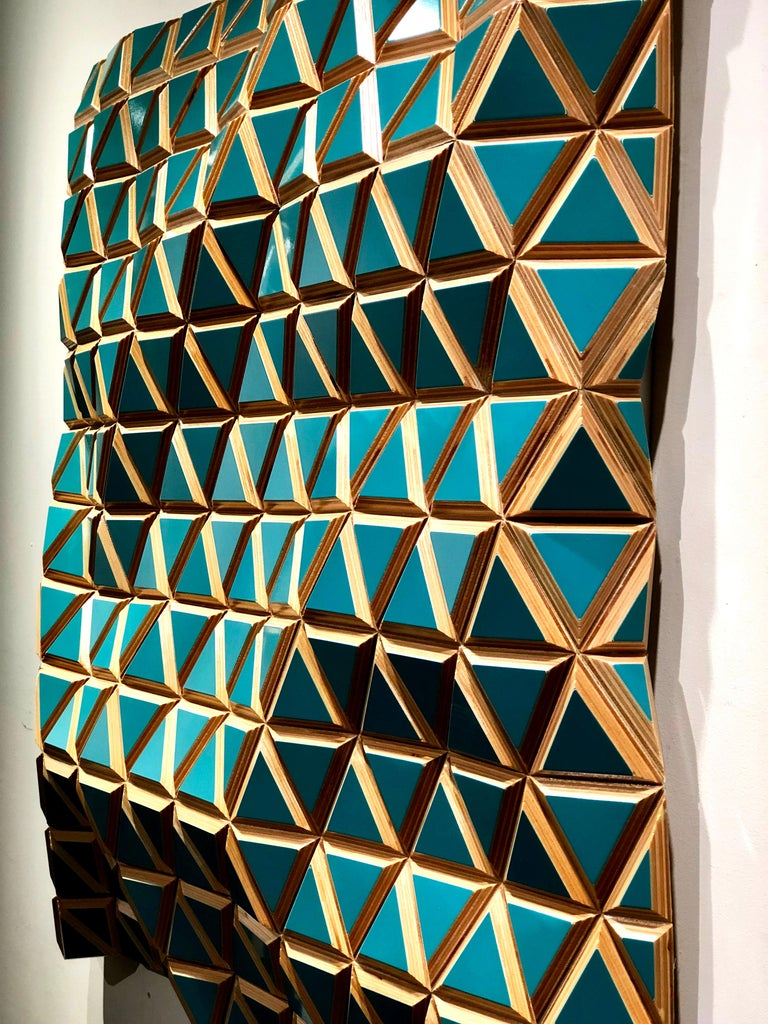 Tropicalisimo -Flexible Rigids- painted wood sculptural wall, parametric design  For Sale 2