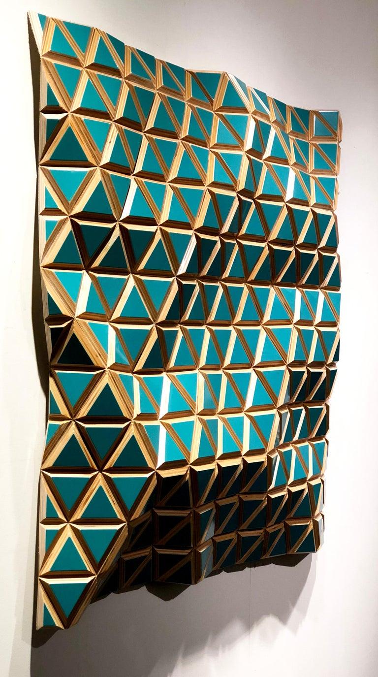 Tropicalisimo -Flexible Rigids- painted wood sculptural wall, parametric design  - Brown Abstract Sculpture by Hugo Garcia-Urrutia