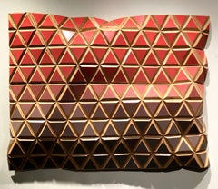Blushing Summer-Flexible Rigids-painted wood sculptural wall, parametric design