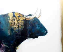 Victory - contemporary abstract painting gold and blue bold colours with bull