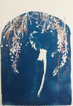 Lyra, by Rosie Emerson, Hand-painted cyanotype on paper, white box frame