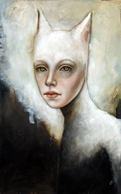 Bast by Michele Mikesell, Oil on canvas, Cat-like figurative portrait
