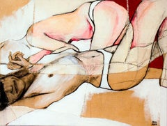 Study for Jo IV, sensual fabric painting with nudes, by Anne Valérie Dupond