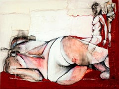 Study for Jo V, sensual fabric painting with nudes, by Anne Valérie Dupond