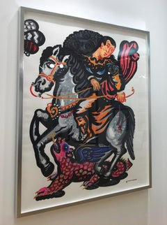 Rider and the Pink Dragon-Popart contemporary style-classical bold painting
