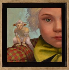 Peter Pam - figurative whimsical oil contemporary painting, realistic, framed