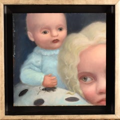 Roaches & Spare Change -figurative whimsical oil contemporary, realistic, framed