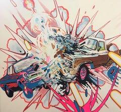 Car and Truck Crashing with Random Cosmic Laser Beam