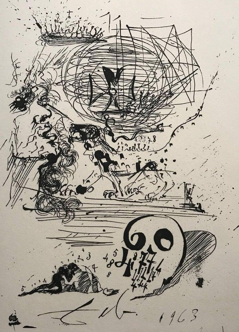 Salvador Dalí Figurative Print - Study for a 2nd Dream